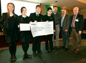"Students and teacher from Holy Trinity College, Cookstown, first prize, with Minister Alex Attwood and Robert Emmet Hernan, ""irish environment"" magazine."