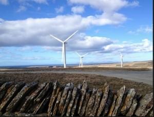 Wind turbines stone wall copy